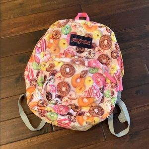 JanSport Doughnut 💖 Pink & Gray Backpack EUC! 🍩